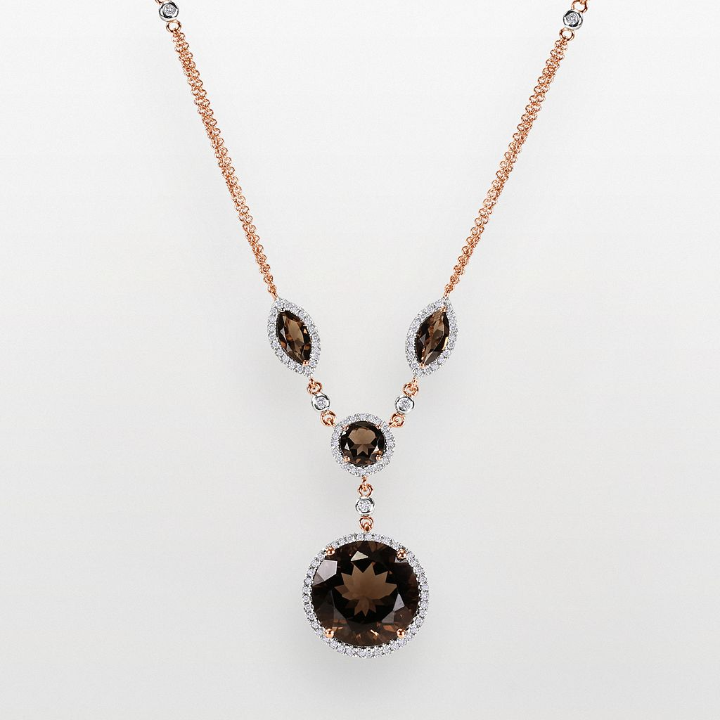 14k Rose Gold .57-ct. T.W. Diamond & Smoky Quartz Y Necklace
