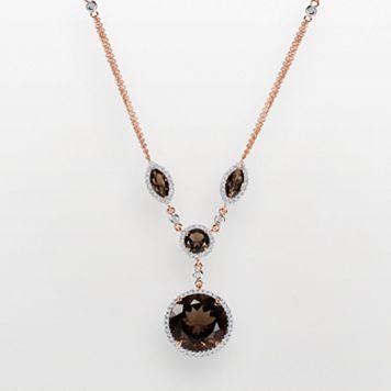 14k Rose Gold .57-ct. T.W. Diamond & Smoky Quartz Y Necklace