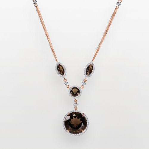 14k Rose Gold .57-ct. T.W. Diamond and Smoky Quartz Y Necklace