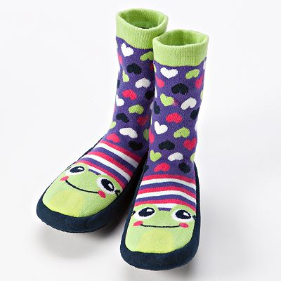 Frog Heart Slipper Socks - Girls