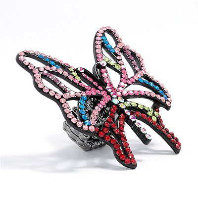 Candie's Jet Simulated Crystal Openwork Butterfly Stretch Ring