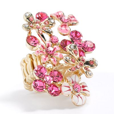 Candie's Gold Tone Simulated Crystal Flower and Butterfly Stretch Ring