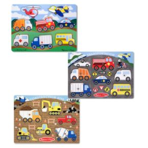 Melissa and Doug Peg Puzzle Vehicle Bundle