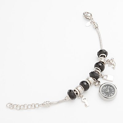 Studio Time Silver Tone Simulated Crystal Bead Charm Watch