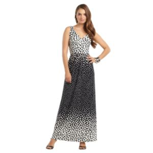 Chaps Polka-Dot Empire Maxi Dress - Women's Plus