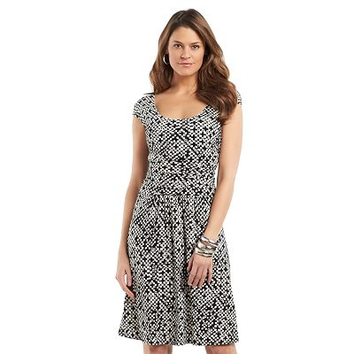 Chaps Geometric Ruched Dress - Women's Plus