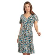 Chaps Dot Pleated Empire Dress - Women's Plus