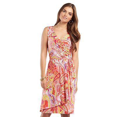 Chaps Paisley Surplice Faux-Wrap Dress - Women's Plus