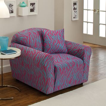 Madison Zebra Jersey Stretch Chair Slipcover With Pillow
