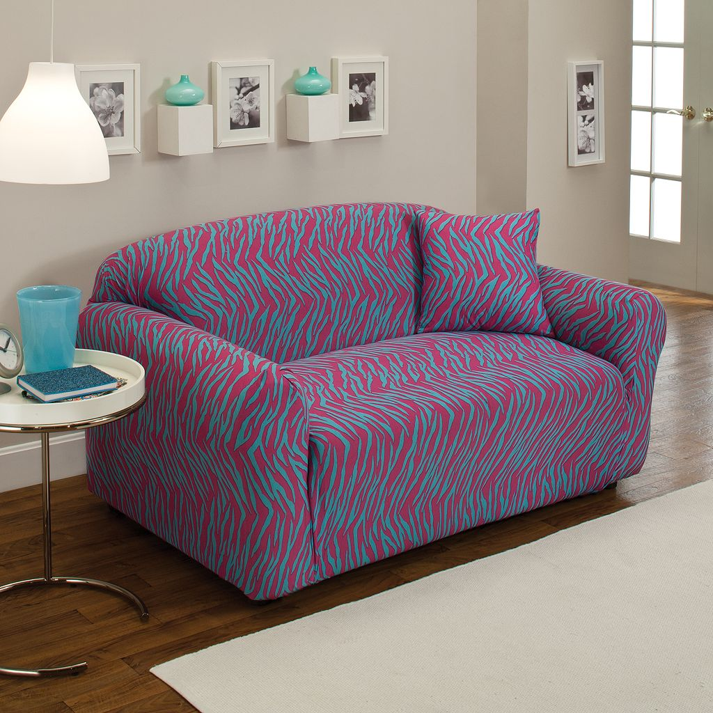 Madison Zebra Jersey Stretch Loveseat Slipcover With Pillow
