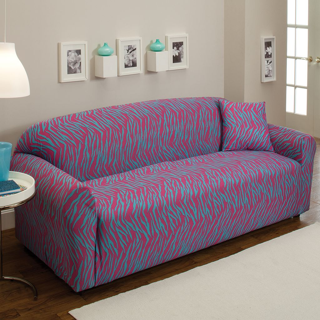 Madison Zebra Jersey Stretch Sofa Slipcover With Pillow