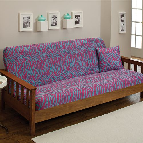 Madison Zebra Jersey Stretch Futon Slipcover With Pillow