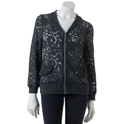 Eyelash Lace Bomber Jacket