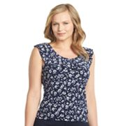 Chaps Floral Ruffle Top - Women's Plus