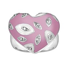 Sterling Silver White Topaz Pink Heart Ring