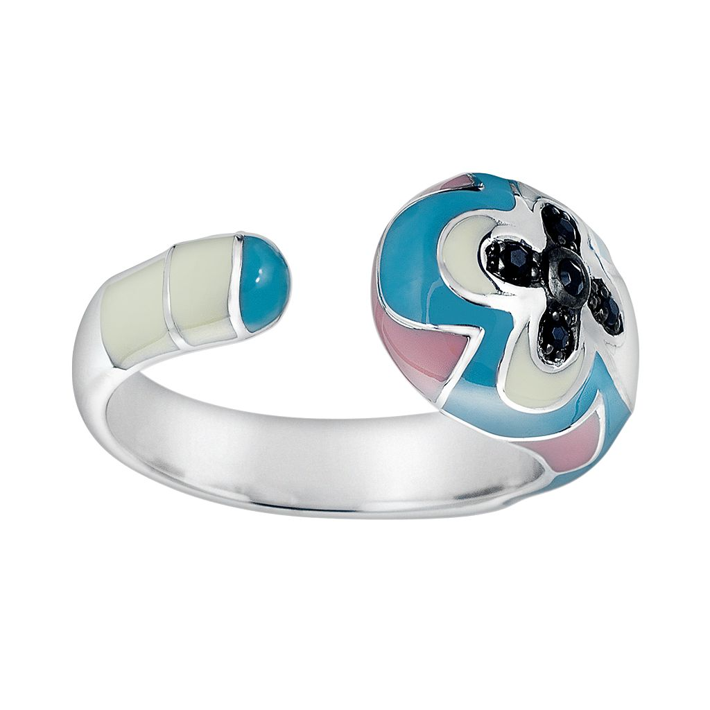 Sterling Silver Black Onyx & Black Topaz Open Band Floral Ring