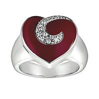Sterling Silver White Topaz Red Heart Ring
