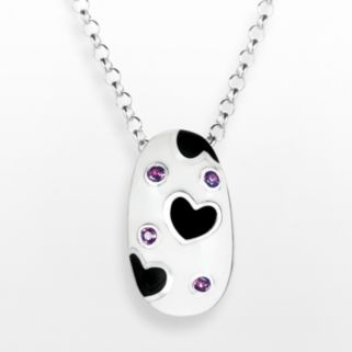 Sterling Silver Rhodolite Garnet Heart and Oval Pendant