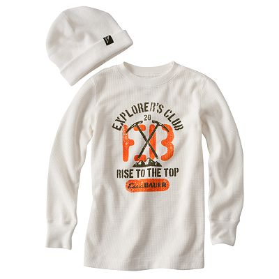Eddie Bauer Pickax Thermal Tee and Beanie Set - Boys 4-7