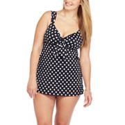 Croft and Barrow Polka-Dot Swimdress - Women's Plus