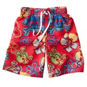 Jumping Beans Skull and Hibiscus Swim Trunks - Boys 4-7x