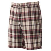 Chaps Yarn-Plaid Flat-Front Shorts