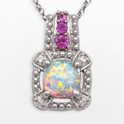 10k White Gold Lab-Created Pink and White Sapphire and Lab-Created Opal Pendant
