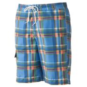 Chaps Plaid Swim Trunks