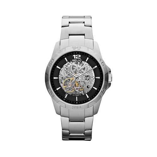 men s stainless steel automatic skeleton watch relic men s stainless steel automatic skeleton watch