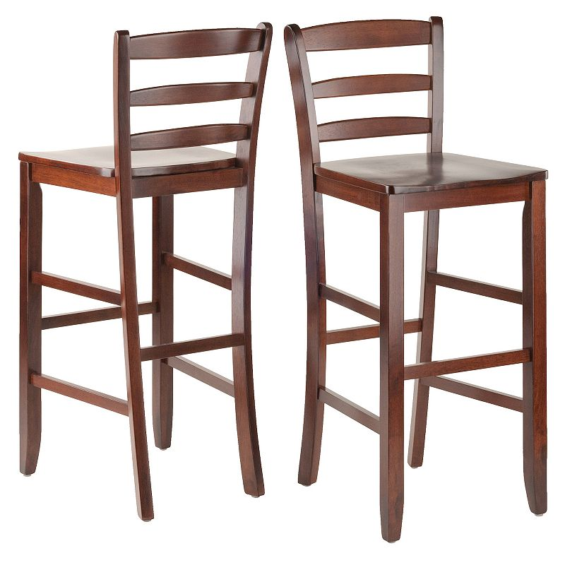 Winsome 2-pc. Ladder Back Stool Set, Brown, Furniture