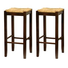 Winsome 2-pc. 29' Rush Seat Stool Set