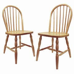 Winsome 2 pc Tan Windsor Chair Set