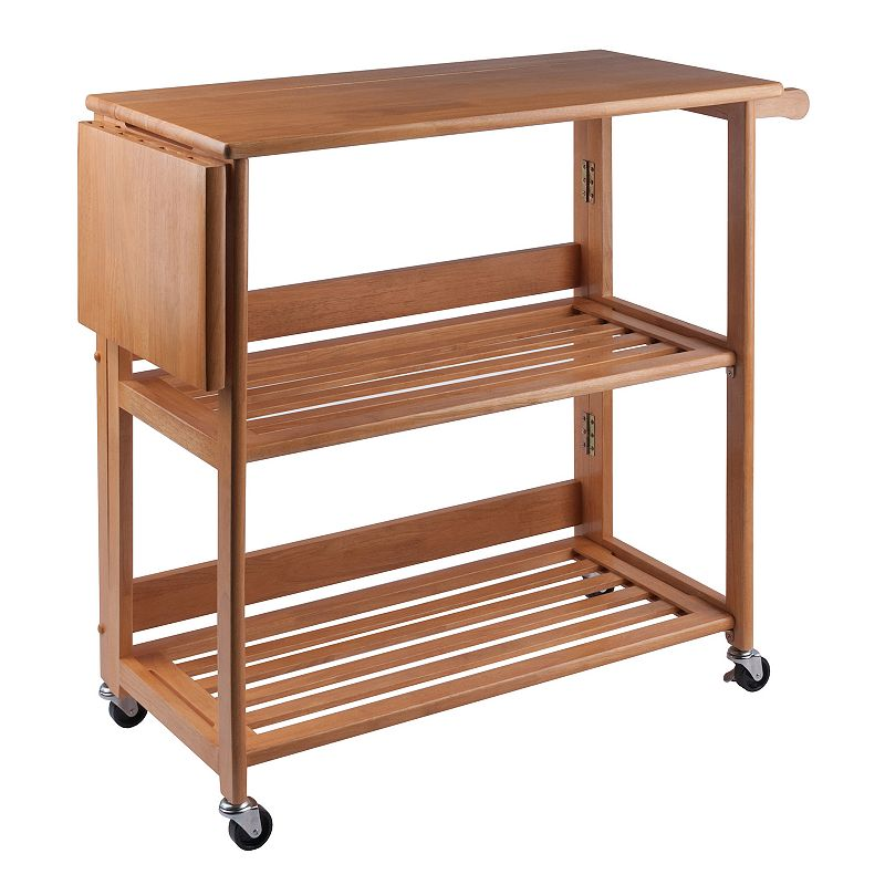 Winsome Foldable Kitchen Cart, Brown Achieve ultimate versatility with this Winsome kitchen cart. This In light oak finish. : Built-in cutting board adds convenience. Two storage drawers provide organizational space. Folding design offers easy storage. : 34.6H x 37.8L x 17.2D Wood Assembly required Manufacturer's 60-day limited warrantyFor warranty information please click here Model no. 34137 Size: Furniture. Color: Brown. Gender: Unisex. Age Group: Adult. Material: Wood/Oak.