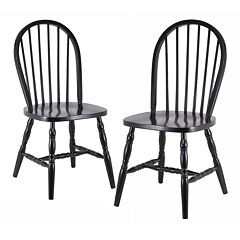 Winsome 2 pc Black Windsor Chair Set