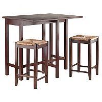Winsome Lynnwood 3 pc Rush Stool Dining Set