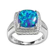 Sterling Silver Lab-Created Blue Opal and Diamond Accent Square Frame Ring