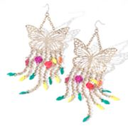 Princess Vera Wang Two Tone Butterfly Fringe Drop Earrings