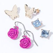 Princess Vera Wang Two Tone Simulated Crystal Butterfly Stud and Drop Earring Set