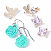 Princess Vera Wang Two Tone Simulated Crystal Bird Stud and Drop Earring Set