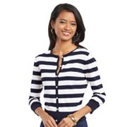 Chaps Striped Cardigan - Petite