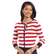 Chaps Striped Cardigan