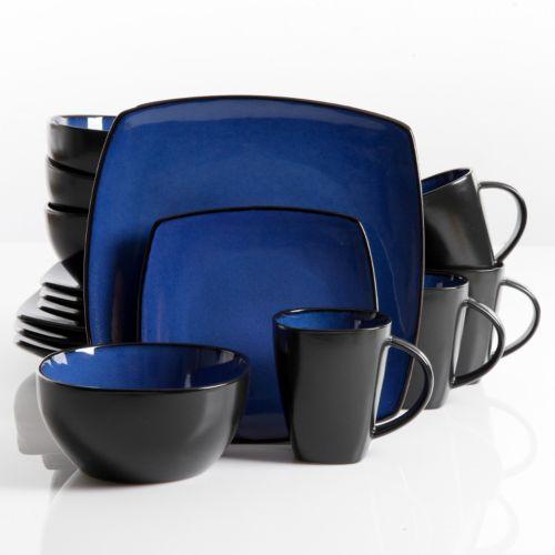 Gibson Everyday Soho Lounge Blue 16-pc. Square Dinnerware Set
