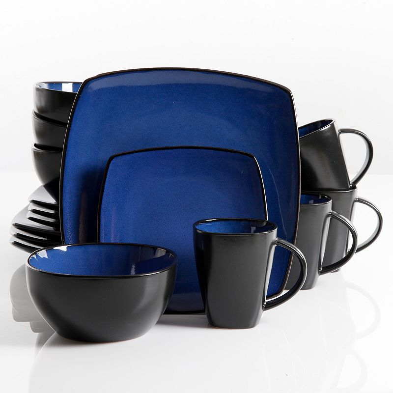 gibson everyday soho lounge blue 16 pc square dinnerware set