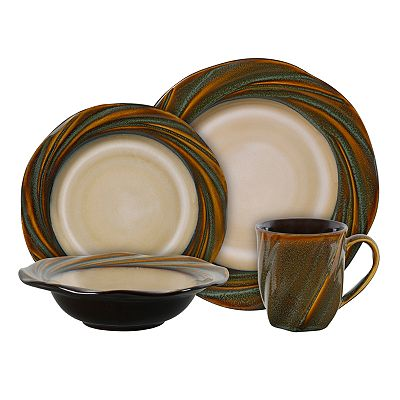 Gibson Everyday Brandia Green 16-pc. Dinnerware Set