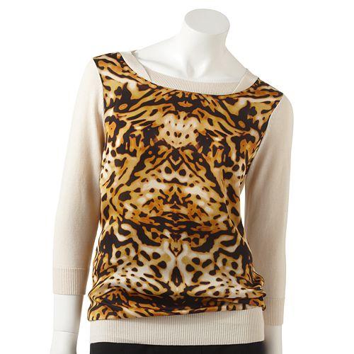 Women's Jennifer Lopez Animal Chiffon Overlay Sweater