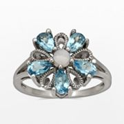 Sterling Silver Blue Topaz and Lab-Created Opal Flower Ring