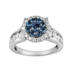 10k White Gold 1 3/4-ct. T.W. Blue & White Diamond Frame Ring
