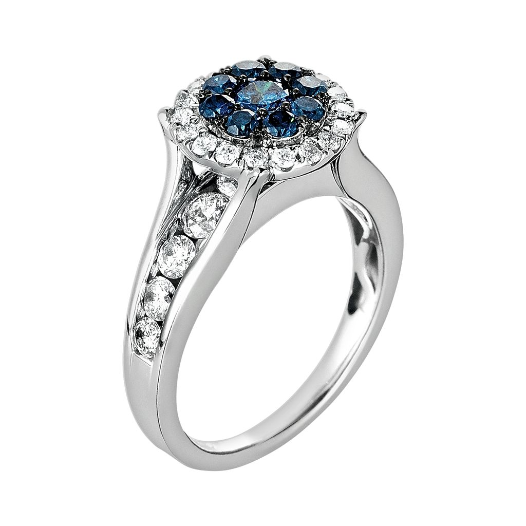 10k White Gold 1 3/4-ct. T.W. Blue and White Diamond Frame Ring