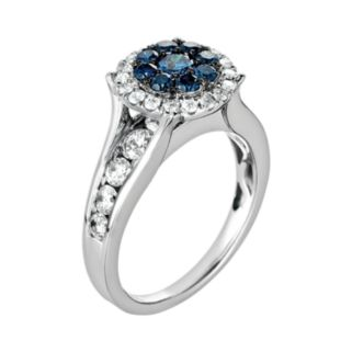 10k White Gold 1 3/4-ct. T.W. Blue and White Diamond Frame Ring