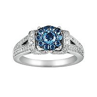 10k White Gold 1-ct. T.W. Blue & White Diamond Frame Ring